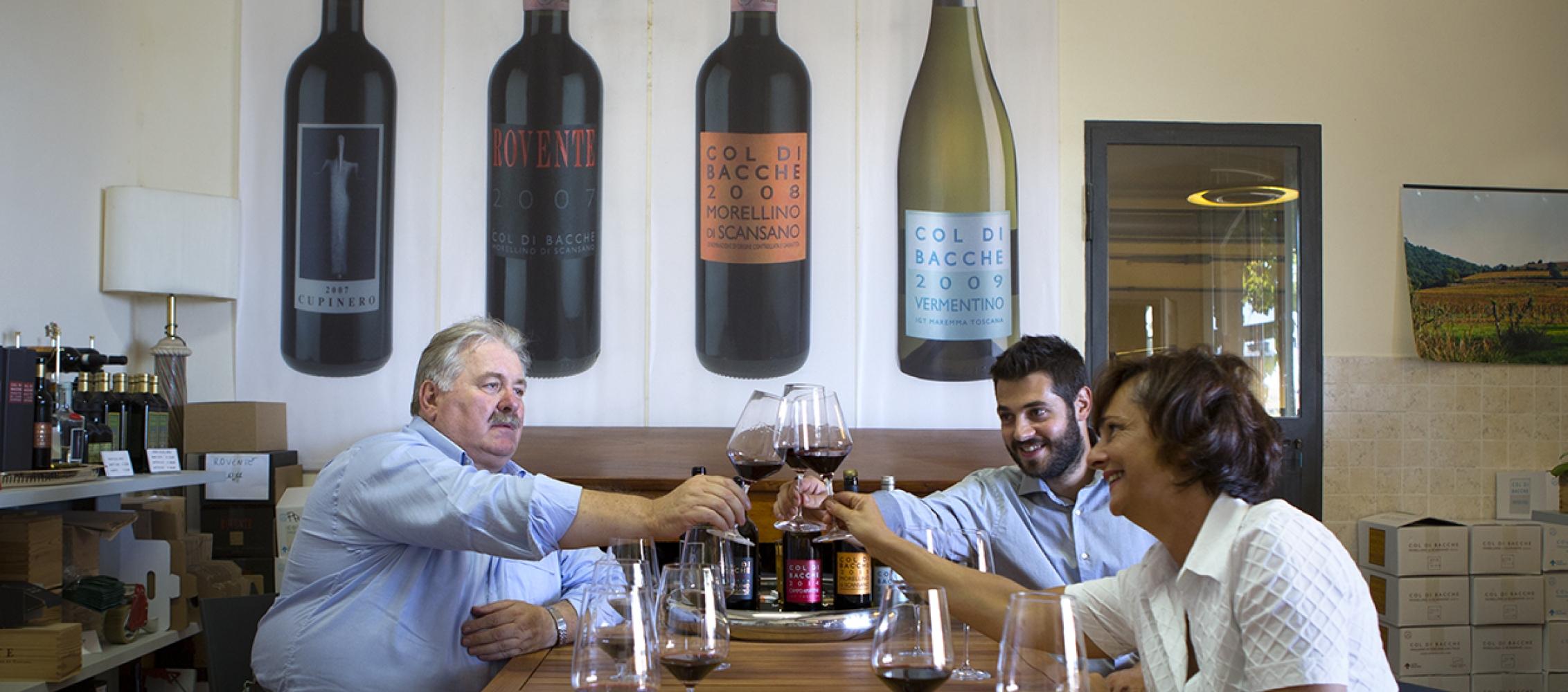 Sala degustazione vini maremmani in un ambiente familiare